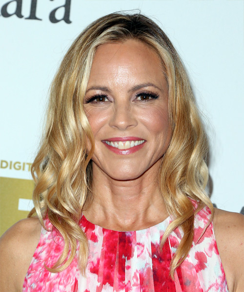 Maria Bello Medium Wavy Casual   Hairstyle   - Light Blonde (Golden)