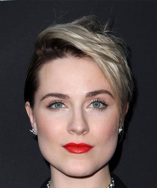 Evan Rachel Wood     Dark Brunette and Light Blonde Two-Tone Pixie  Cut with Side Swept Bangs