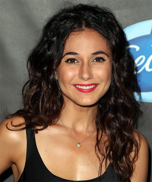 Emmanuelle Chriqui Long Curly Formal Hairstyle Black