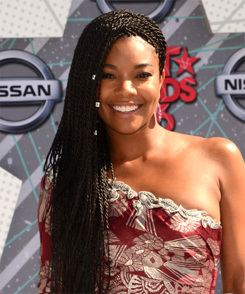 Gabrielle Union Long Curly   Black  Braided  Hairstyle