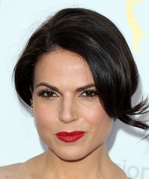 Lana Parrilla Medium Straight Casual Wedding Updo Hairstyle with Side Swept Bangs  - Black
