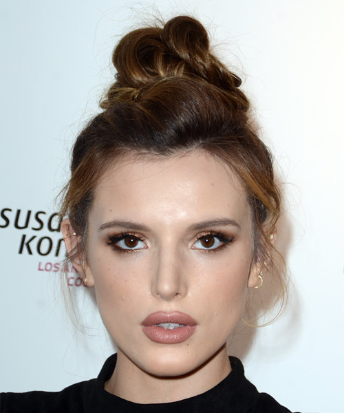 Bella Thorne Long Straight Casual   Updo Hairstyle   - Dark Red Hair Color