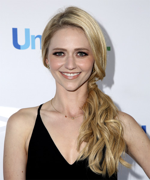 Johanna Braddy Long Wavy Casual   Updo Hairstyle   - Light Blonde Hair Color