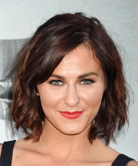 Scout Taylor-Compton Medium Wavy Casual Layered Bob  Hairstyle with Side Swept Bangs  - Dark Brunette Hair Color