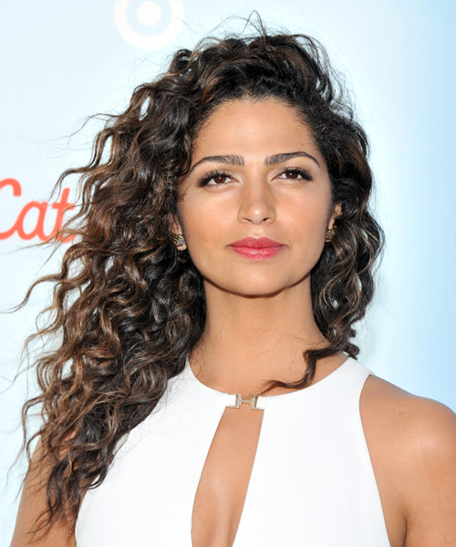 Camila Alves Long Curly Casual    Hairstyle   - Dark Brunette Hair Color