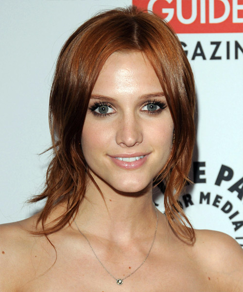 Ashlee Simpson  Long Straight Casual   Half Up Hairstyle