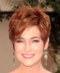 Carolyn Hennesy Short Straight Formal  Pixie  Hairstyle with Side Swept Bangs  -  Red Hair Color