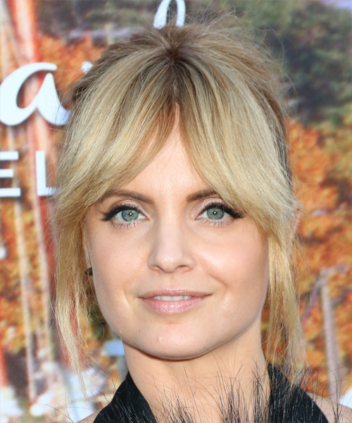 Mena Suvari Long Straight Formal Wedding Updo Hairstyle with Layered Bangs  - Light Blonde