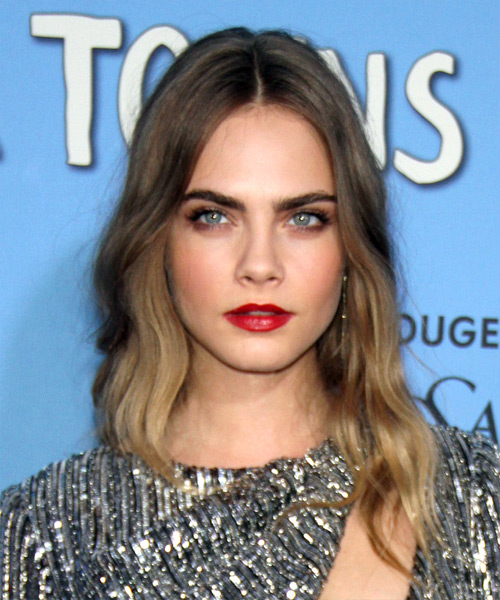 Cara Delevingne Medium Wavy Formal    Hairstyle   - Dark Blonde Hair Color