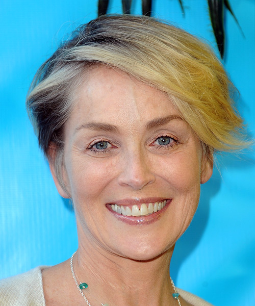 Sharon Stone Short Straight Casual Asymmetrical  Hairstyle with Side Swept Bangs  - Light Blonde