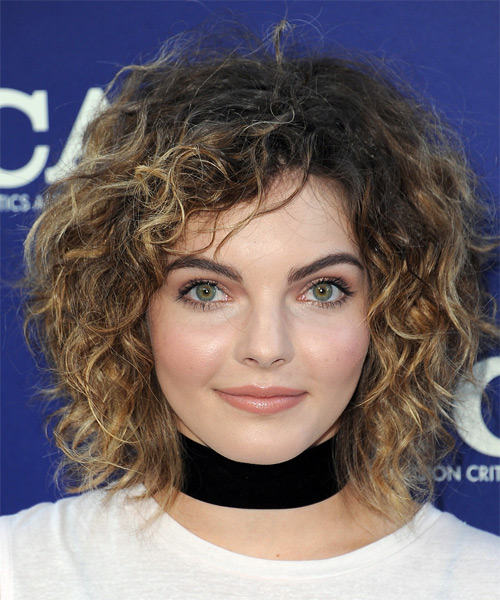Camren Bicondova Medium Curly    Brunette Shag  Hairstyle   with Dark Blonde Highlights