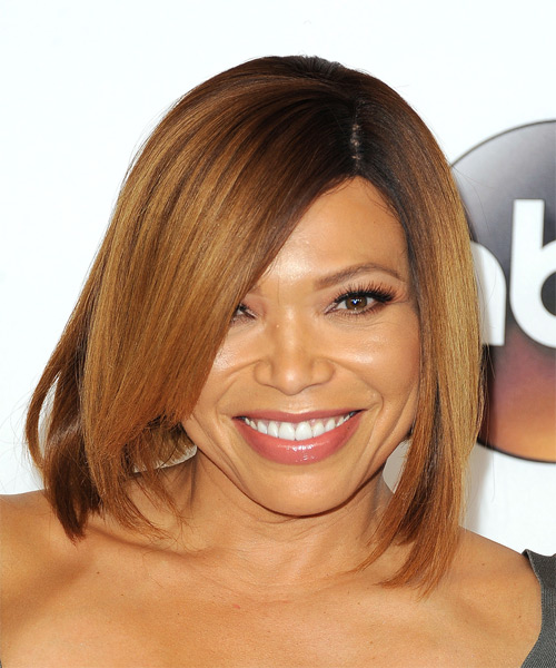Tisha Campbell Martin Medium Straight Casual Bob  Hairstyle with Side Swept Bangs  - Light Red
