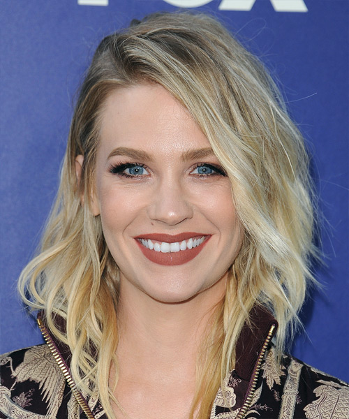 January Jones Medium Wavy Casual Bob  Hairstyle   - Light Blonde