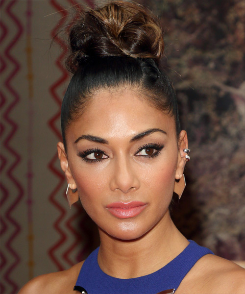 Nicole Scherzinger Long Straight Formal Wedding Updo Hairstyle   - Black