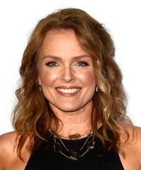 Dina Meyer Medium Wavy Casual    Hairstyle   -  Red Hair Color
