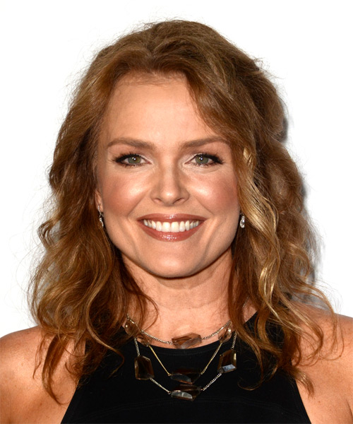 Dina Meyer Medium Wavy Casual   Hairstyle   - Medium Red