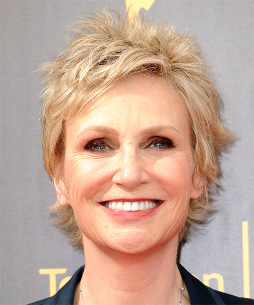 Jane Lynch Short Straight Formal Shag  Hairstyle with Side Swept Bangs  - Light Blonde (Ash)
