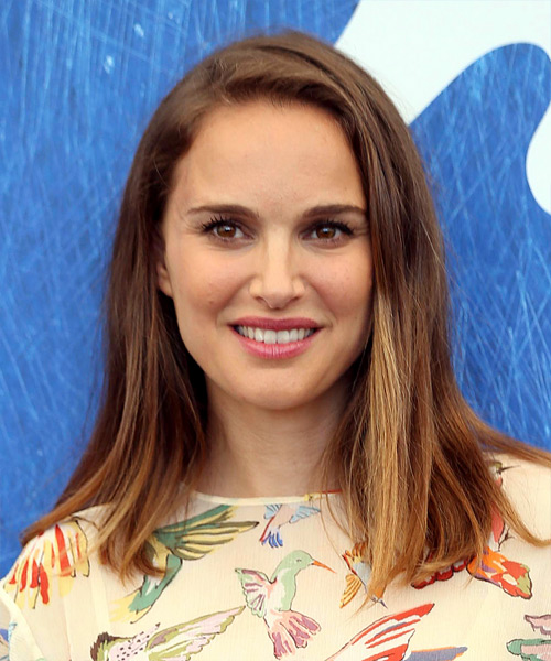 Natalie Portman Medium Straight Casual  Bob  Hairstyle   -  Brunette Hair Color