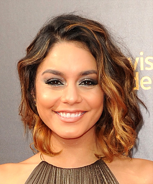 Vanessa Hudgens Medium Wavy    Brunette Bob  Haircut   with Light Red Highlights