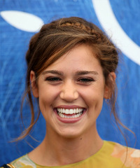 Matilda Lutz Long Straight Casual  Braided Updo Hairstyle with Side Swept Bangs  -  Brunette Hair Color