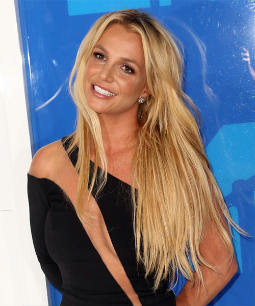Britney Spears Long Straight Casual Hairstyle   Light Blonde Hair Color