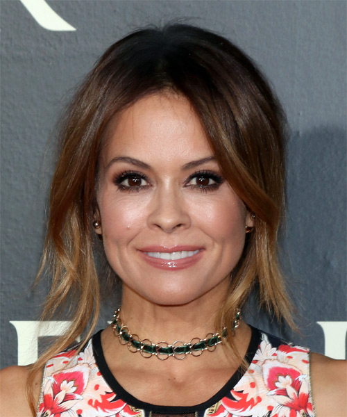 Brooke Burke Long Straight Casual   Updo Hairstyle   - Medium Brunette Hair Color