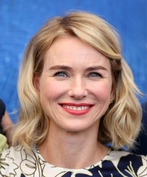 Naomi Watts Medium Wavy Casual  Bob  Hairstyle   - Light Blonde Hair Color