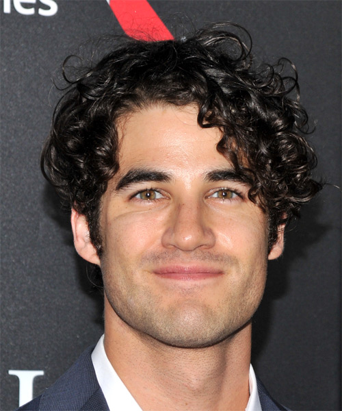 darren criss short curly casual hairstyle   black