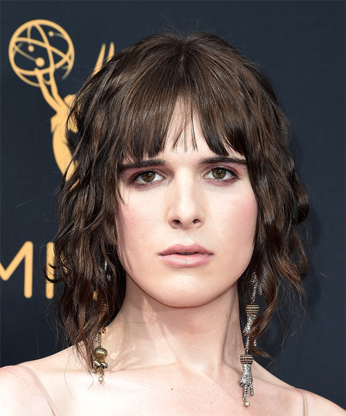Hari Nef Medium Wavy Casual  Bob  Hairstyle with Blunt Cut Bangs  - Medium Brunette Hair Color