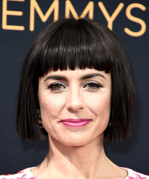 Constance Zimmer Short Straight   Black  Bob  Haircut with Blunt Cut Bangs