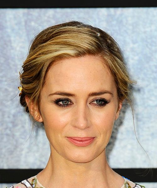 Emily Blunt Medium Wavy Casual Wedding Updo Hairstyle   - Medium Blonde