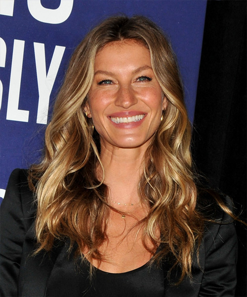 Gisele Bundchen Long Wavy   Dark Honey Blonde   Hairstyle