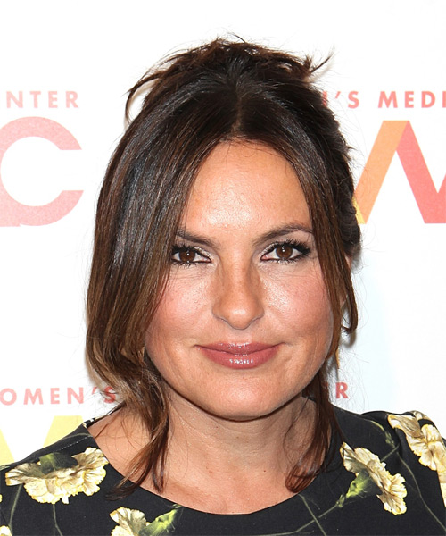 Mariska Hargitay Long Straight Casual  Updo Hairstyle   - Dark Brunette