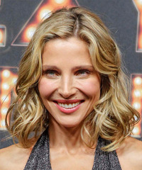 Elsa Pataky Medium Wavy Formal  Bob  Hairstyle   -  Champagne Blonde Hair Color