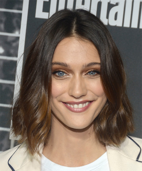 Sophie Hopkins Medium Wavy Casual  Bob  Hairstyle   - Dark Brunette Hair Color