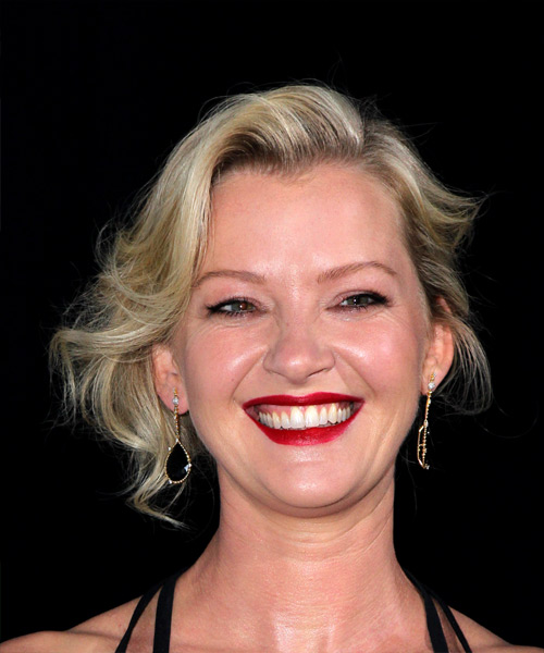 Gretchen Mol Medium Wavy Casual Wedding Updo Hairstyle   - Light Blonde (Platinum)