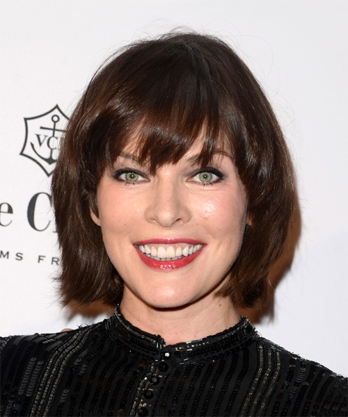 Milla Jovovich Medium Straight Layered   Auburn Brunette Bob  Haircut with Layered Bangs