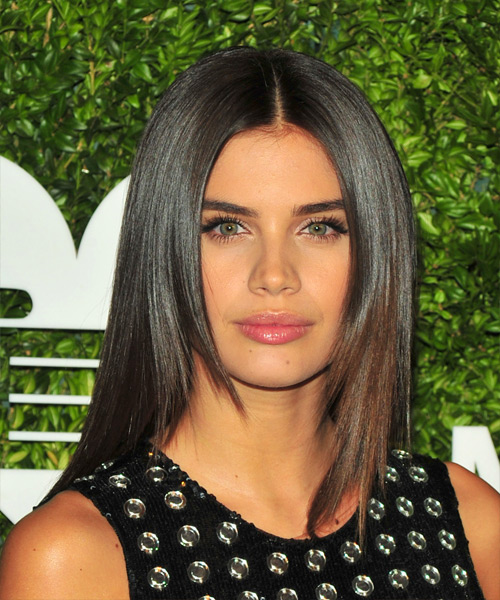 Sara Sampaio Long Straight Formal    Hairstyle   - Dark Chocolate Brunette Hair Color