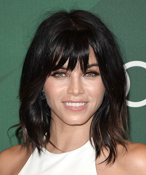 Jenna Dewan Medium Straight Casual   Hairstyle with Blunt Cut Bangs  - Dark Brunette