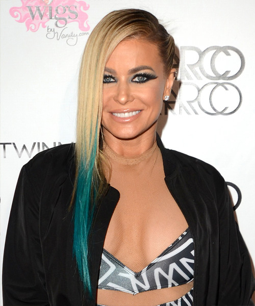 Carmen Electra Long Straight Casual    Hairstyle   - Light Blonde and Blue Two-Tone Hair Color