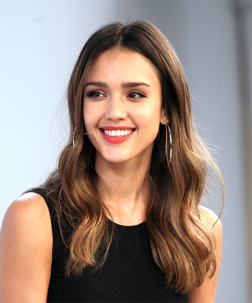 Jessica Alba Long Wavy Casual   Hairstyle   - Medium Brunette