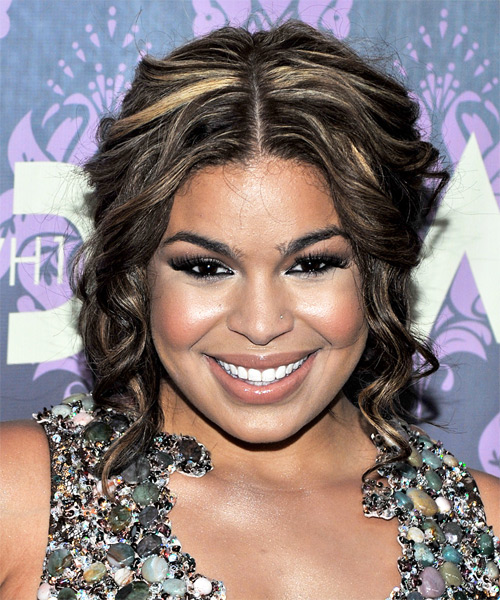 Jordin Sparks Half Up Long Curly Formal  Half Up Hairstyle