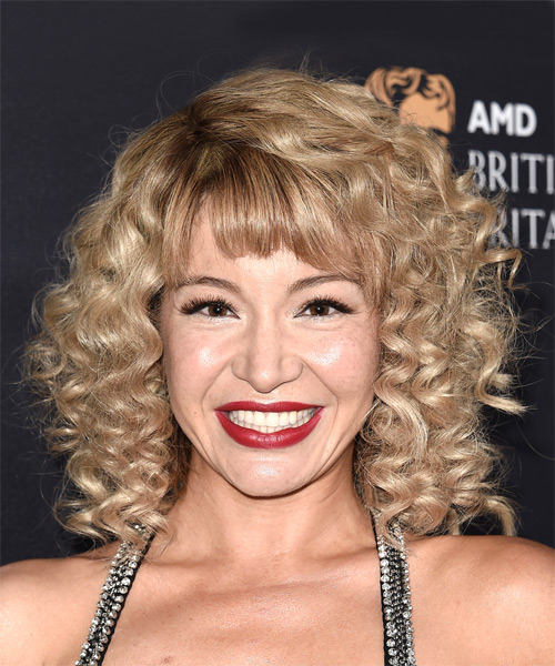 Katherine Castro Medium Curly Casual   Hairstyle with Blunt Cut Bangs  - Medium Blonde