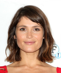 Gemma Arterton Medium Wavy    Brunette Bob  Haircut with Side Swept Bangs