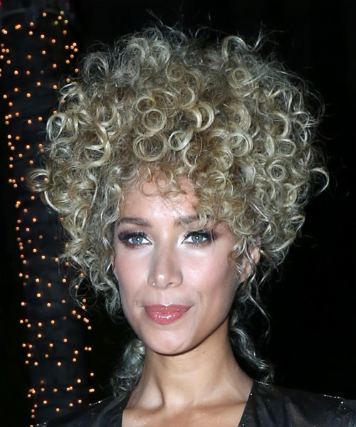 Leona Lewis Medium Curly Casual Afro Updo Hairstyle   - Light Blonde