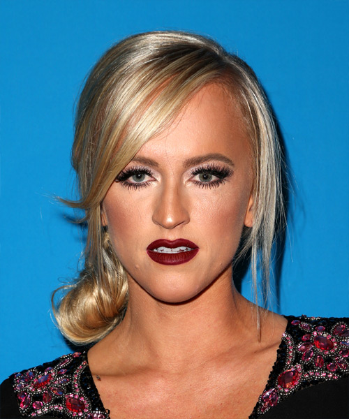 Summer Rae Long Straight Formal   Updo Hairstyle with Side Swept Bangs  - Light Blonde Hair Color