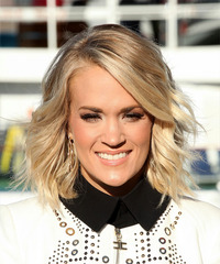 Carrie Underwood Medium Wavy   Light Champagne Blonde Bob  Haircut