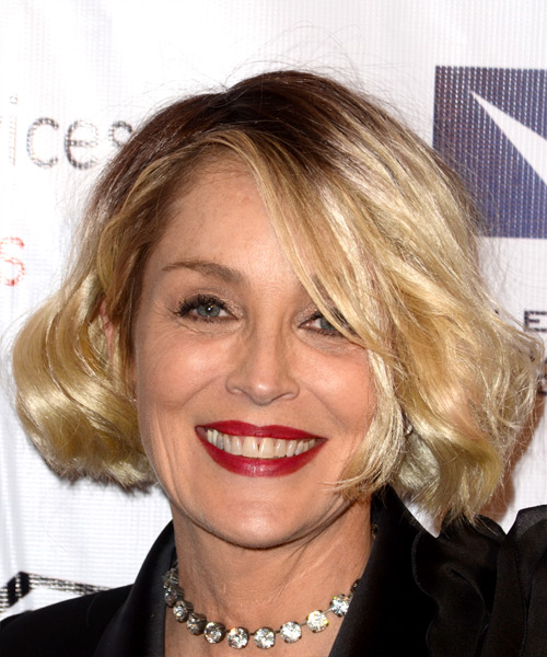 Sharon Stone Medium Wavy   Light Blonde Bob  Haircut with Side Swept Bangs