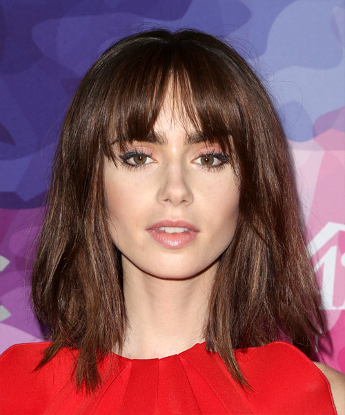 Lily Collins Medium Straight    Mocha Brunette Bob  Haircut with Blunt Cut Bangs
