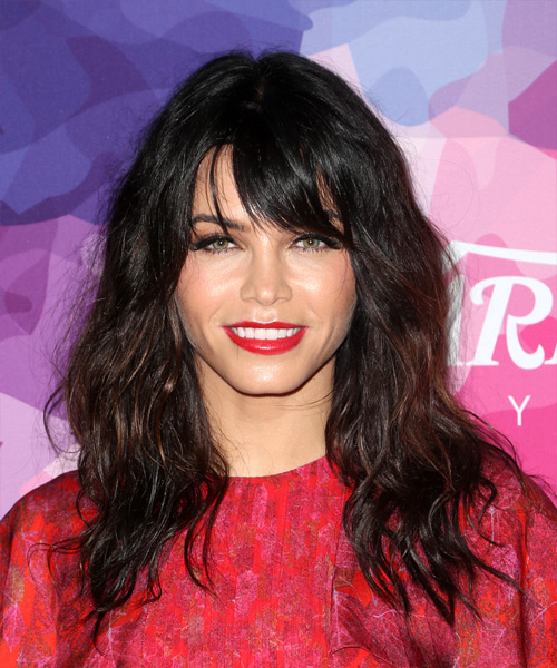 Jenna Dewan Long Wavy Casual   Hairstyle with Layered Bangs  - Black
